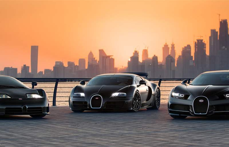 Three Bugatti Super Sports Cars from Three Decades