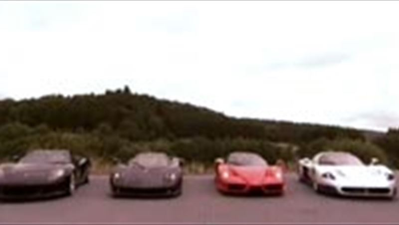Supercar match between Ferrari F60 Enzo, Koenigsegg CCX, Porsche Carrera GT, Maserati MC12 and Pagani Zonda on Nurburgring