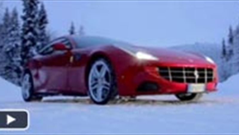 Ferrari FF on snow with Markku Alen