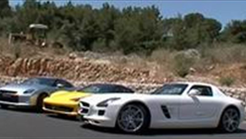 Comparison Ferrari 458 vs. Mercedes SLS vs. Nissan GT-R